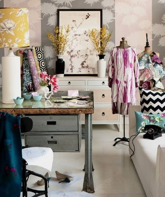 office - home o - craft room - interior design and decor - sewing room - fashion fabric showroom via sweet nothings blog