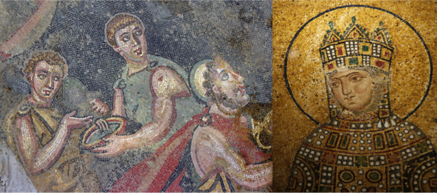 Mosaic artwork: Late Roman (left) and Byzantine (right)