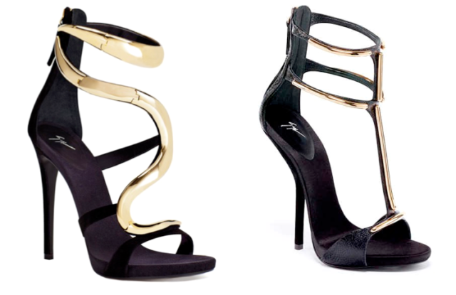 The Giuseppe Zanotti pairs: Fall 2012(left) and Spring/Summer 2013(right)