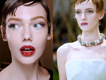 Example of the ancient look: embellished lips from the Dior Spring Summer 2013 Haute Couture show.